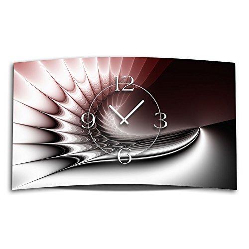 DIXTIME 3D-0323 Horloge murale silencieuse, sans bruit de tic-tac Design numérique moderne 28 x 48 cm Rouge