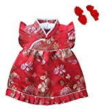 CRB Fashion Baby Kids Toddler Girls Childrens Chinese New Years Qipao Clothes Celebration Clothing Costume Dress Bloomer Pants Shorts with 2 Hair Clips Outfit Set (Red Blossom, 1 to 2 Years Old)
