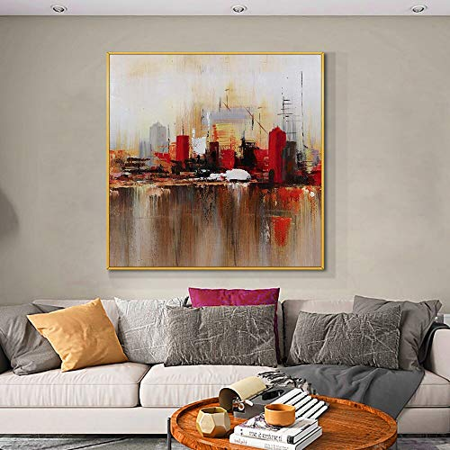 wZUN Pintura arquitectónica Abstracta Pintura al óleo sobre Lienzo Arte Abstracto de la Pared para la decoración de la casa del Dormitorio 60x60 Sin Marco