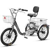 Triciclo de Adultos Triciclo Adulto Triciclos Adultos De 20 Pulgadas Bici De Bicicleta Con Cesta De Compras Triciclo Plegable Para Picnic Para Hombres Al Aire Libre Hombres Mujeres(Color:gris)
