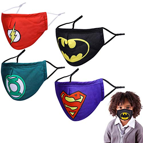 Kids Reusable Superhero Face Mask with Adjustable Ear Loops, 3D Black Funny Designer Breathable Cute Washable Childrens Toddler Youth mascaras para niños, Madks Facemask for Girl Boy Children Gift