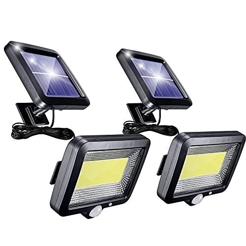 Solarlampen für AußEn mit Bewegungsmelder, 2 Stück 56 Led Solarleuchten für AußEn mit 5m Kabel, 3 Modi 120° Superhelle Solar Lampe Outdoor IP65 Wasserdichte Led Aussenleuchte Led Solar Strahler