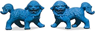 ChinaFurnitureOnline Porcelain Foo Dog Sculptures, Hand Made Standing Foo Dog Figurines Set of 2 Blue Glaze