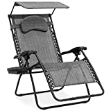 Best Choice Products Oversized Steel Mesh Zero Gravity Reclining Lounge Patio Chair w/Folding Canopy Shade and Cup Holder, Gray