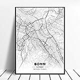 Kunstdrucke Leinwand Bonn Deutschland Schwarz-Weiß-Stadt