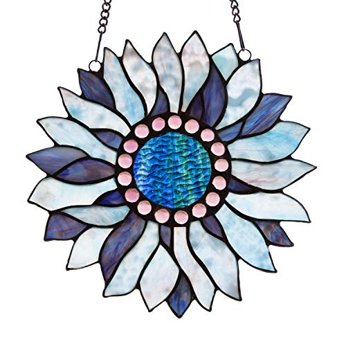 Capulina Stained Glass Panel Handcrafted Stained Glass Window Hangings, Blue Sunflower Stained Glass Windows Treatments with Chain - Abstract Art Style (W10.6 x H10.8 inches)