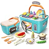 CUTE STONE Play Kitchen Picnic Toy Playset, Portable Picnic Basket Kids Kitchen Toys