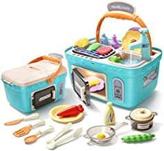 CUTE STONE Kids Picnic & Kitchen Playset,Portable Pinic Basket Toys with Musics & Lights, Color Changing Play Foods,Play Sink,Pretend Play Oven and Other Kitchen Accessories Toys for Boys and Girls