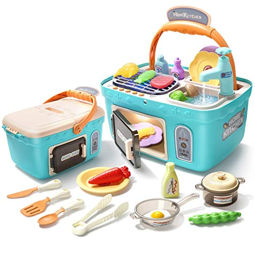CUTE STONE Kids Picnic amp Kitchen PlaysetPortable Pinic Basket Toys with Musics amp Lights Color Changing Play FoodsPlay SinkPretend Play Oven and Other Kitchen Accessories Toys for Boys and Girls