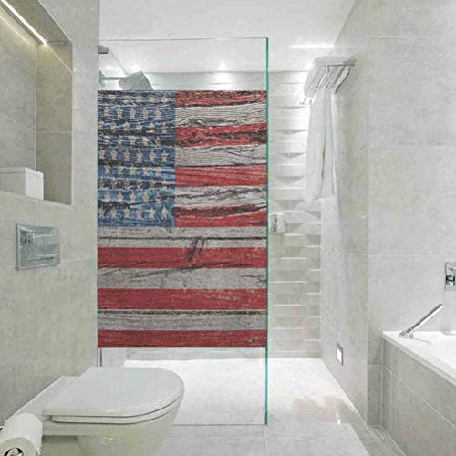 DIY Home Decoration Glass Stickers Window Folie, USA Vourth of Juli Independence Day Painted Wood Panel Wall Loo, Home Glass Film for Bathroom Meeting Living Ro, 89,9 x 199,9 cm