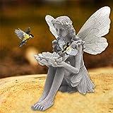 Elegante Estatua de Hada Batterfly, Hada sentada con una Flor en la Mano, decoración de comedero para pájaros, iluminación Artesanal, decoración de Figuras de Hadas con ala Realista