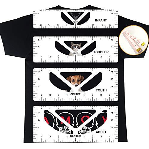 BEITESTAR TSHIRT 자 가이드-5 팩 아크릴 티셔츠를 정렬 도구를 꿰매는 중심 디자인 비닐 기술자 안내기 위한 도구로 승화 패션 성인 청소년 유아 유아