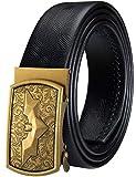 Barry.Wang Cinturón de trinquete para hombre, cinturón de piel auténtica con hebilla automática, juego de regalo para hombres