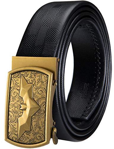 Barry.Wang cinturón de trinquete para hombre, cinturón de cuero genuino con hebilla automática, juego de regalo de moda para hombres Negro Batman Buckle Small