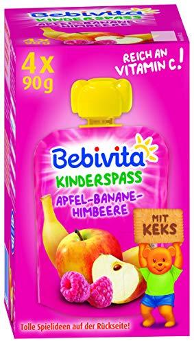 Bebivita Kinder-Spaß Frucht & Keks Apfel-Banane-Himbeere mit Keks, 4er Pack (4 x 360 g)