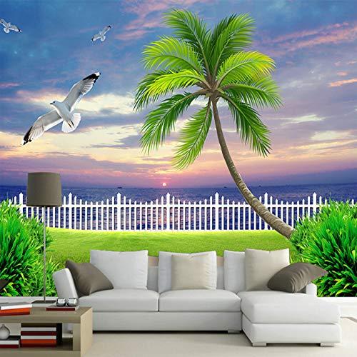 Tamaño Personalizable Mural 3D Paisaje Del Mar Tropical Mural Salón Sofá Muebles...