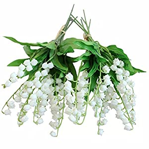 Htmeing Artificial Lily of The Valley Flowers Bush for Home Garden Wedding Decoration