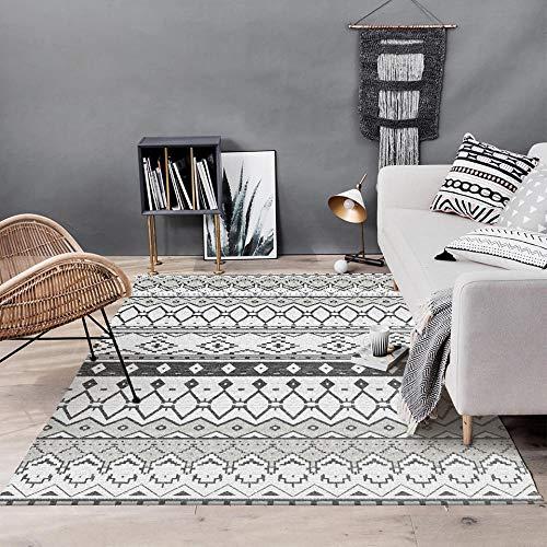 VGFGI Blanco y Negro rombo Gris geométrico Estilo étnico Cocina Dormitorio Sala de Estar impresión 3D Antideslizante Sala de Estar área de decoración Alfombra Felpudo