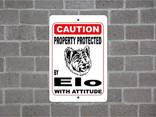Lplpol Property Protected By Elo Guard Hunde-Warnschild für den Hof, Zaun, Rassen, Metall, Aluminium, 30,5 x 45,7 cm