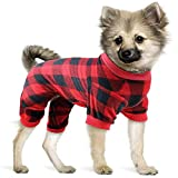 Mtliepte Red Plaid Dog Pajamas Soft Flannel Pjs for Dog Pet Clothes Warm and Cozy (S)
