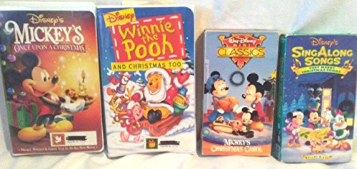 Lot of 4 Disney Holiday Family Entertainment Videos ~ Mickey's Christmas Carol VHS, Mickey's Once Upon a Christmas VHS, Sing Along Songs Very Merry Christmas Songs VHS, Winnie the Pooh and Christmas T