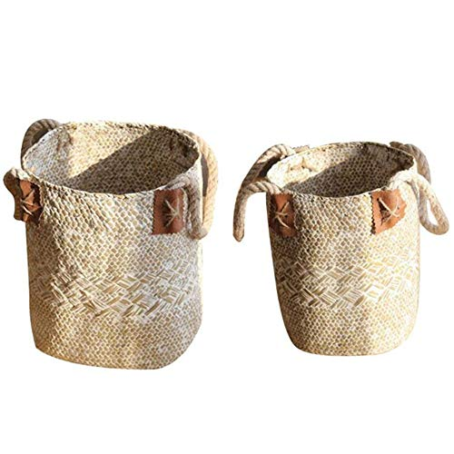 Seagrass Basket with Handles Foldable - Flower Pot Vase Planter Laundry Storage Organisation Baskets Organizer for Picnic Bathroom, Living Room, Kitchen or Lounge (White, S)