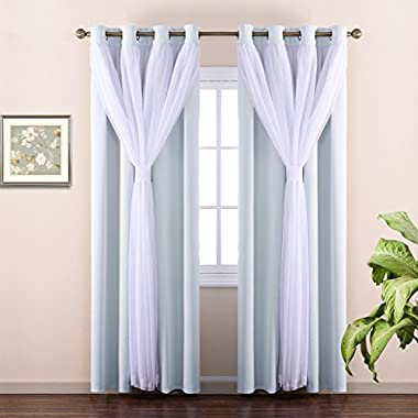 NICETOWN Double Layers Mix & Match Elegance White Crinkled Voile and Blackout Room Darkening Curtains/Drapes With 4 Bonus Tie-backs, Suiting 17  W-40 Window by (Set of 2-Layer Panels, Platinum)