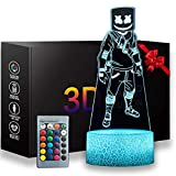 3D Fortnite Night Light,16 Colors Changeable with Remote Control Kids Bedroom Decoration Fortnite Room Decor Desk Lamp, Creative Lighting Gifts for Kids and Fortnite Fans