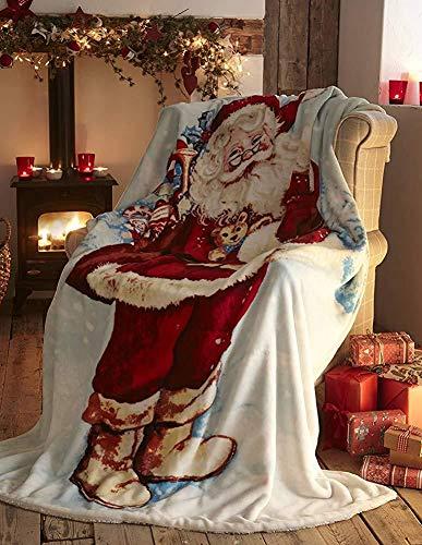 Sungpunet Dekorative Bett wirft Wollteppich Weihnachten Santa Claus, Baumwolle für Weihnachten zu Hause Dekoration