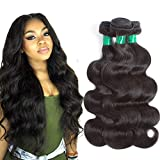 10A Mink Brazilian Virgin Hair Body Wave 3 Bundles Deal (18' 16' 14') 100% Unprocessed Real Brazilian Human Hair Weave Weft Body Wave Natural Color Remy Hair Extensions Weaving Pecwu Hair