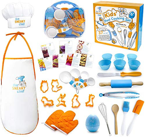 The Sneaky Chef Kids Cooking/Baking Set 37 Piece BPA Free, Child-Safe Essential Junior Utensils, Cooking Protection, Storage Case, Cookie Cutters, and 7 Healthy Recipe Cards - Ages 6+ Years