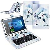 Tablet Hülle kompatibel für Amazon Fire HD 10 / Plus 2021 Tasche Tastatur Keyboard QWERTZ Schutzhülle Cover Standfunktion USB Schutz Hülle, Farben:Motiv 2