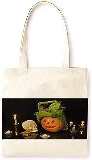 Cotton Canvas Tote Bag Modern Night Bat Fairy Tale Pumpkin Lantern Farmhouse Style Halloween Party Printed Casual Large Shopping Bag for School Picnic Travel Groceries Books Handbag Design