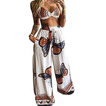 HengShunRui Women Boho Clothing Butterfly Top + Palazzo Boho Pants Two Piece Bohemian Summer Outfits A White M