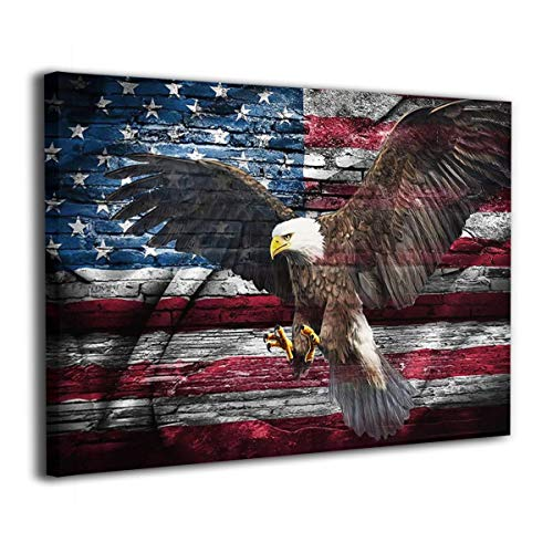 Retro American Bald Eagle Spread Wings USA flag Painting Canvas Prints Patriotic Concept Picture For Office Living Room Bedroom Wall Art Framed Ready to Hang 12''x16'' Inch