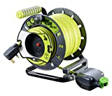 Masterplug Pro-XT Reverse Open Cable Reel with Single In-Line Weatherproof Socket, 25 Metres with 3 Metres Reverse High Visibility Cable