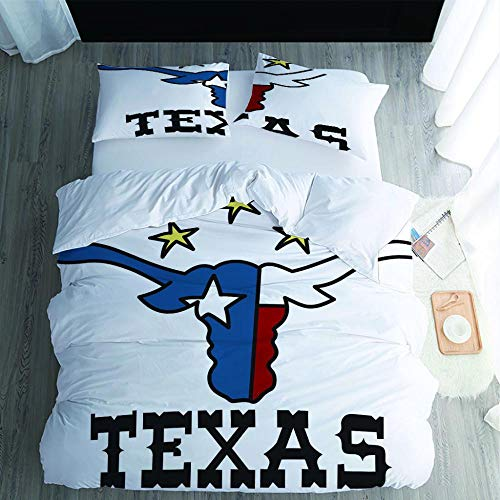 SMXSSJT Duvet Cover Set 3D Texas Duvet Cover Set 3 Pieces Bedding Cover Set With Pillow Case 100% Microfiber Polyester.173X218Cm
