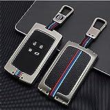 Funda protectora para llave de coche para Renault Megane/Koleos/Kadjar Smart Key de 4 botones, carcasa de metal y goma para llave de coche con llavero