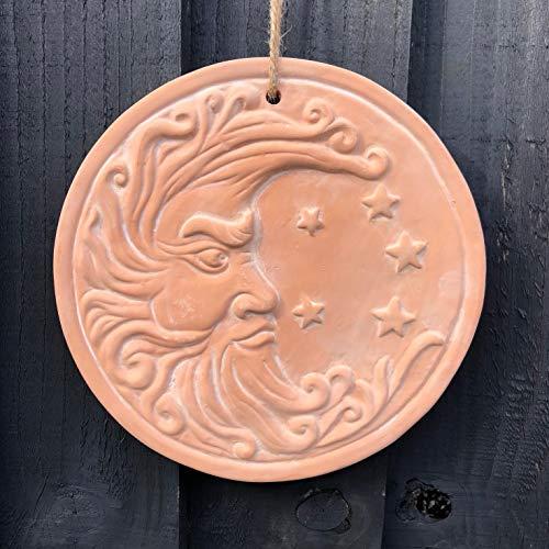Mezzaluna Gifts Terrakotta Hängeschild Sonne | Mond | Buddha Zaun Baum Wandschild, 20cm Moon