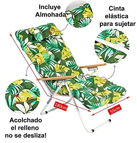 1 COJIN Tumbona Acolchada. COJIN Silla de Playa con Respaldo y Almohada. Cojín...