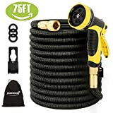 [Updated 3750D] Expandable Garden Hose,75ft Garden Water Hose Expandable,Flexible Strongest Triple Latex Core with 3/4 Solid Brass Fittings 10 Function Spray Nozzle for Watering and Cleaning