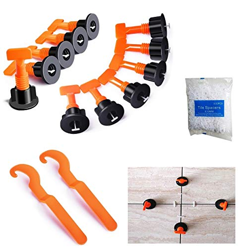 YIYATOO 100pcs Tile Leveler Spacers and 500PCS 2mm Tile Spacer,Tile Leveling System with Special Wrench,Reusable Spacer Flooring Level Tile levellers Set System Construction for Builing Walls & Floors