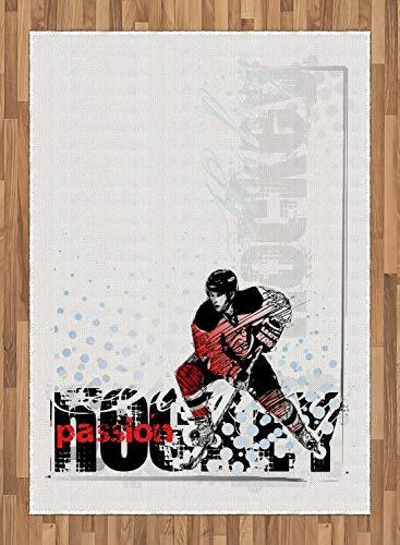 ABAKUHAUS Le Hockey Tapis Tissé à Plat, Gardien De But Jouer Création, Salle de Séjour Chambre à Coucher Salle à Manger, 160 x 230 cm, Multicolore
