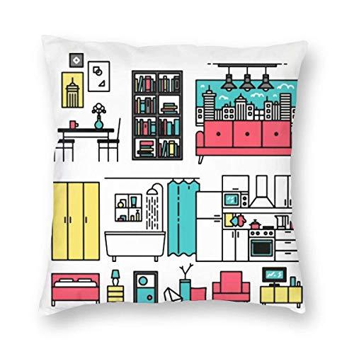 GOSMAO Funda de Almohada Muebles de Dibujos Animados Algodón Lino Throw Pillow Case Funda de Almohada para Cojín 45x45 cm