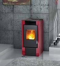 estufa de pellets karmek One lisboa de 8,21KW de aire ventilada de acero, Rojo