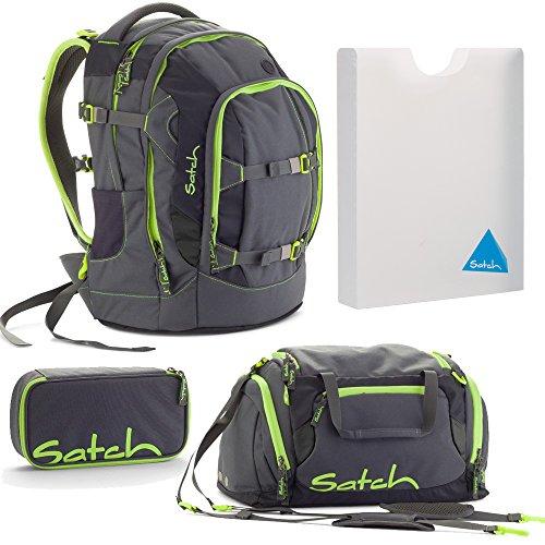 satch by Ergobag Phantom Grau Grün Neon 4-teiliges Set Rucksack, Schlamperbox, Sporttasche & Styler-Box