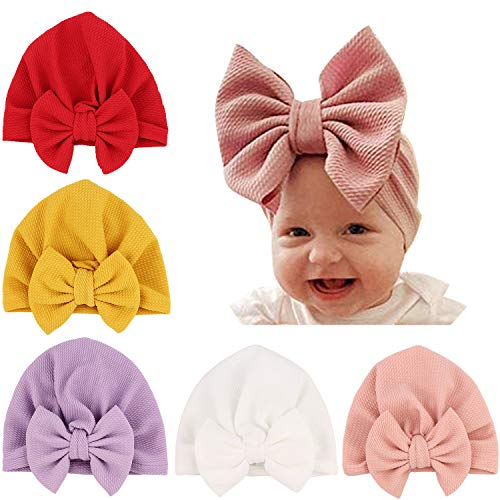 DRESHOW 5 Pcs Gorro Bebé Sombrero de Punto Niño Niña Sombrero Sombrero Grande Arco Suave Lindo Nudo Beanie de Vivero