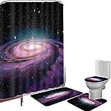 Juego de cortinas baño Accesorios baño alfombras Galaxia en espiral Galaxia en el espacio ultraterrestre Nebulosa de Andrómeda Polvo estelar Universo Astronomía Artes Imprimir Alfombrilla baño Alfombr