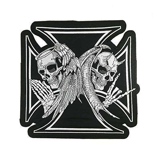 Jumbo Iron Cross Skull Angel n Devil Motorcycle MC Embroidered Iron On Sew On Patch for Biker Vest