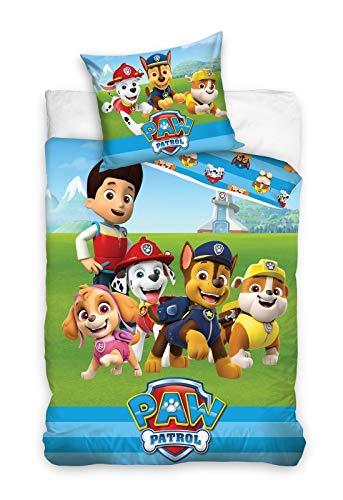 Carbotex Juego de cama infantil de la Patrulla Canina, funda nórdica de 140 x 200 cm y funda de almohada de 65 x 65 cm, algodón